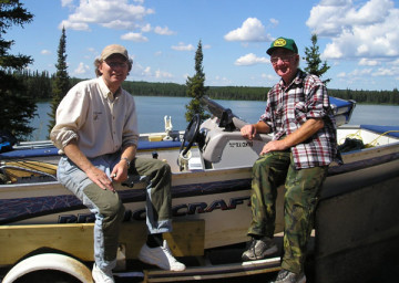 Father Walleye and his father, Richard, in northern Saskatchewan.