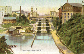 The locks at Lockport, New York, shown in a 1905 postcard.